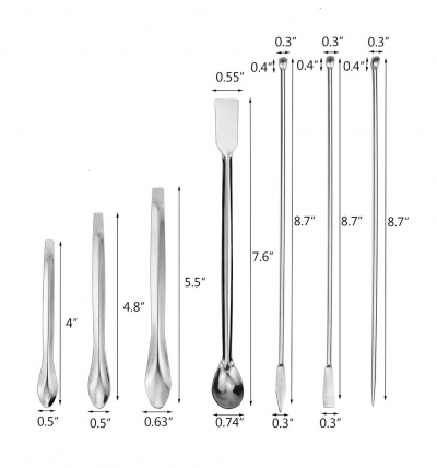 13 piece stainless steel lab scoops image 2